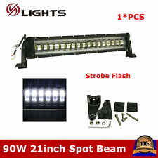 "21inch 90W SPOT LED Light Bar Offroad Truck Ford SUV ATV Flashing Strobe 20/22"""