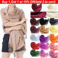 Women's Cashmere Blend Solid Tassels Long Scarf Soft Pashmina Large Shawl Wrap