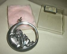 Vintage Roman Pure Pewter 88% Moon W Sleeping Angel Ornament Made Italy W Box