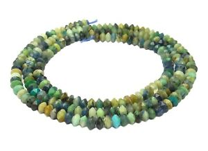 Chrysocolla Azurite Faceted Rondelle Approx. 3 MM Gemstone-Beads Cord