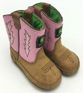 John Deere Brown Pink Leather Baby Boots Booties Size 4