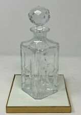 """New listing Antique Atlantis Cut Crystal glass Decanter signed Vintage- decanter 10.5"""" tall"""