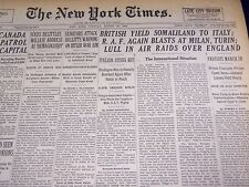 1940 AUGUST 20 NEW YORK TIMES - BRITISH YIELD SOMALILAND TO ITALY - NT 2562