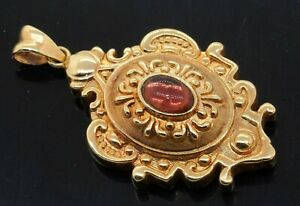 Italian designer 14K gold .50CT Oval cabochon Pink tourmaline solitaire pendant