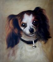 Stretched, Hand Painted Oil Painting, Repro Auguste Renoir Head of a dog 20x24in