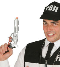 SILVER F.B.I Gun Toy Fake Cowboy Wild West Fun Pistol Revolver 28cm Sheriff Prop