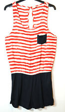 WHITE RED STRIPED NAVY LADIES CASUAL ROMPER PLAYSUIT SIZE 10 BLONDE + BLONDE
