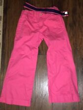 sz 6 Chaps pink coral pants adjustable waist Euc navy blue belt