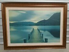 Beautiful Scenery of a Serene Lake dock Size 49 x35 Framed