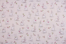 Bunnies Cream Fabric Remnant 100% Cotton. 50cm x 40cm