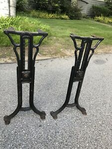 BOBRICK BOSTON ECLIPSE INDUSTRIAL ANTIQUE CAST IRON ADJUSTABLE TABLE LEGS 24 3/4