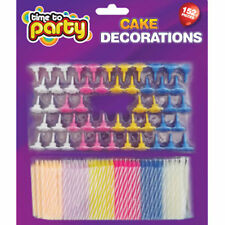 152 piece Birthday cake Candles, Cake toppers. Candy striped candles assorted uk