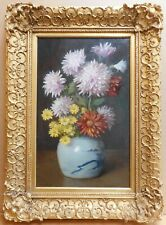 Chrysanthemums & Chinese pot. Oil by listed artist Thomas Wood Holgate RBA c1910