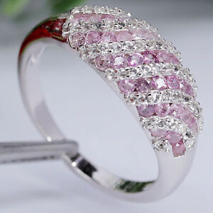 NATURAL HEATED PINK SAPPHIRE & WHITE UNHEATED TOPAZ RING 925 STERLING SILVER