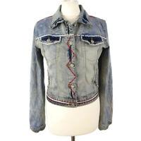 Desigual Size 42 Blue Multicoloured Denim Embroidered Sequinned Jacket UK 10-12
