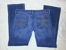 7 for all Mankind Blue Distressed Denim Jeans USA Women's 32 Waist 34