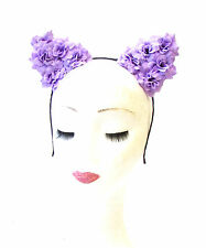 Purple Rose Flower Cat Animal Ears Headband Kawaii Pastel Goth Hair Band 1967