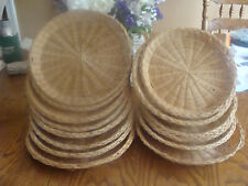 """15 Vtg Natural Woven Wicker Straw Paper Plate Holders Picnic Patio - 9 & 10"""""""
