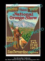 OLD LARGE HISTORIC PHOTO OF SAN BERNARDINO CALIFORNIA ORANGE SHOW POSTER 1913