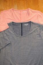2 Lands End Short Slv Super Soft T-shirts Blue Peach Striped Womens XL 18