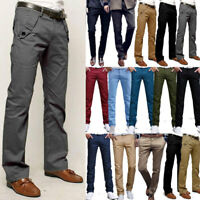 Men's Chino Pants Formal Business Office Straight Leg Trousers Waist Sizes 27-34