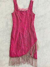 Laurence Kazar Dress Vintage Pink Bead Fringe Silk Flapper Drag Queen 20's Party