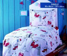MERADISO 100% Cotton Flannel Single Reversible Bedlinen  135 X 200 cm BRAND NEW