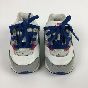 Nike Air Toddler Shoes Sneakers White Blue Pink 412377-111 US Size 4C