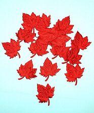 "Set 40 Padded Red Satin Maple Leaf Applique 2"" Decorating Scrapbook Craft Card"
