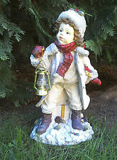Girl with Lantern Figure 39 cm Garden Ornament Winter Decoration