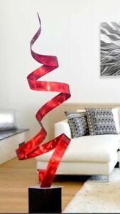 STUNNING! Modern Abstract Metal Art Garden Sculpture Red Decor  Artist Jon Allen