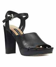 Nine West Kurt Geiger Block Heeled Shoes Size 4 Black Leather Platforms RRP £109