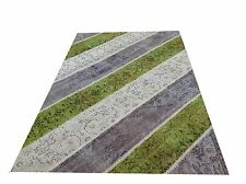 CUSTOM GREY GREEN  vintage Overdyed Rug Handmade Turkish Patchwork Carpet rug