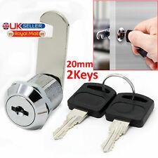 UK Cam Lock for Door Cabinet Mailbox Drawer Cupboard Locker fit Door 20mm+2 Key