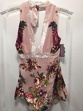 New Women's Hale-Bob Handmade Silk Halter Top (Floral Print) sz M NWT ($150)