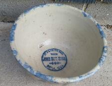 Red Wing Spongeware Paneled Stoneware Advertising Bowl Jones Dept Store Royal IA