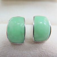 New Pure S925 Sterling Silver Green Jade Jadeite Women Smooth Stud Earrings