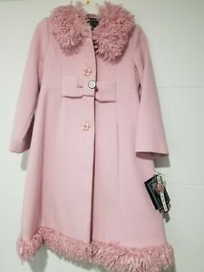 Girls Rothschild Pink Wool Frilly Fur Collar Coat Jacket with Hat Size 6X