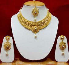 Kundan Designer Bridal Choker Necklace Gold Earrings Royal Jewellery Sets SSN73