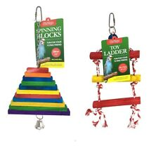 30cm Bird Toys Rope Ladder Wooden Blocks Cage Fun Textured Soft Wood Colours