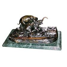 Antique Bronze Elephant Inkwell on Marble Base #4506