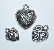 12 charms ~ Decorative HEART Charm MIX ~ Antiqued Silver Pl ~ 3 different charms
