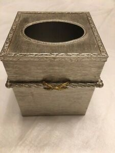 Bathroom Tissue Box Cover (Silver with ribbon and gold bow)