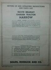 David Bradley Spike Harrow Garden Tractor Operating & Parts Manual 4pg 917.57519