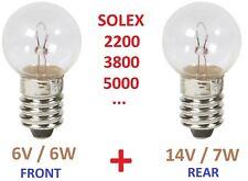 SOLEX BULB SET 6V 6W + 14V 7W REAR FRONT LAMP 1400 1700 2200 3300 3800 5000 BIKE