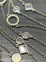 "Ladies necklace Lia Sophia Silver micro pave rhinestone 46"" Long Sweater Style"