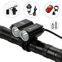 5000Lm 2x CREE XML U2 LED Head Front Bicycle Lamp Bike Light HeadLight Rear Lamp