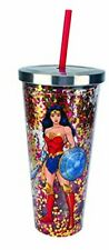 Spoontiques 21305 Wonder Woman Glitter Cup With Straw, 20 ounces, Multicolor