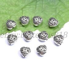 Tibetan Silver Heart Shaped Hollow Charms Spacer Beads For Jewellry 13X13MM A23