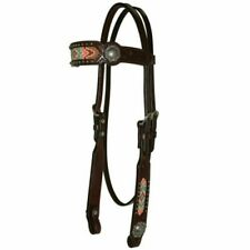 Circle Y Bead Inlay Floral Concho Browband Headstall